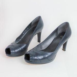 Stuart Weitzman Navy Blue Leather Peep Toe Heel 10